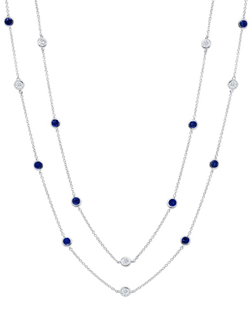 "Bezel 36"" Necklace with Clear and Sapphire CZ Finished in Pure Platinum"