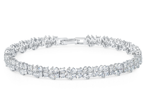 Multi Cluster Bracelet Finished in Pure Platinum