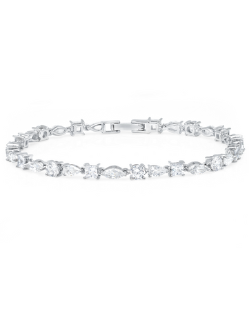 Multi Shape Tennis Bracelet Finished in Pure Platinum