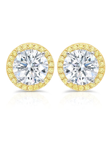 Brilliant Cut Fiore Canary Halo cubic zirconia Stud Earrings