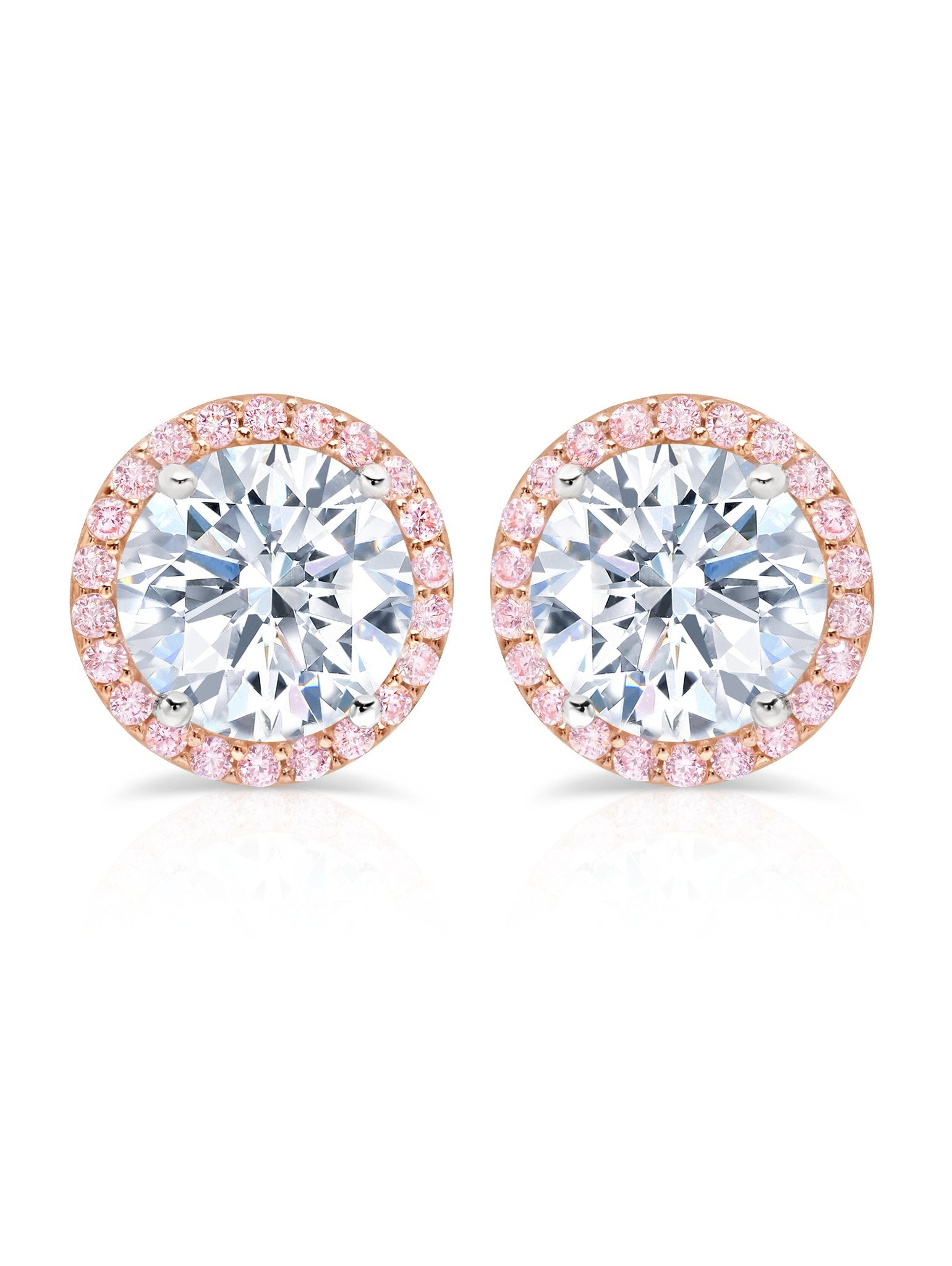 pink cubic earrings white zirconia stud gold