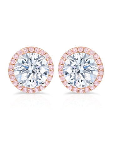 Brilliant Cut Fiore Pink Halo Stud Earrings