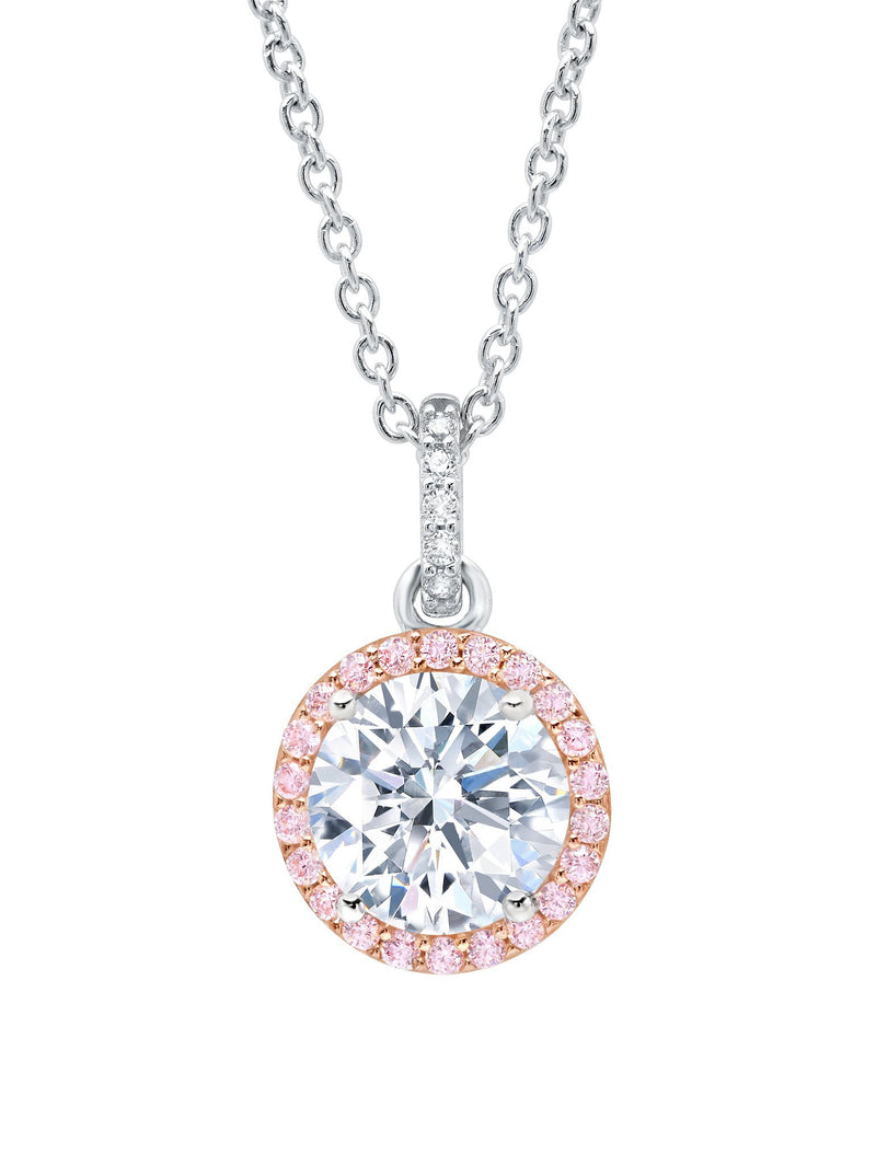 Brilliant Cut Fiore Pink Halo cubic zirconia Pendant necklace