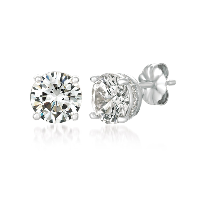 Royal Brilliant Cut Stud Earrings Finished in Pure Platinum