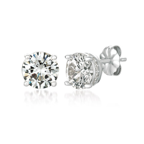 Royal Brilliant Cut Earrings Finished in Pure Platinum