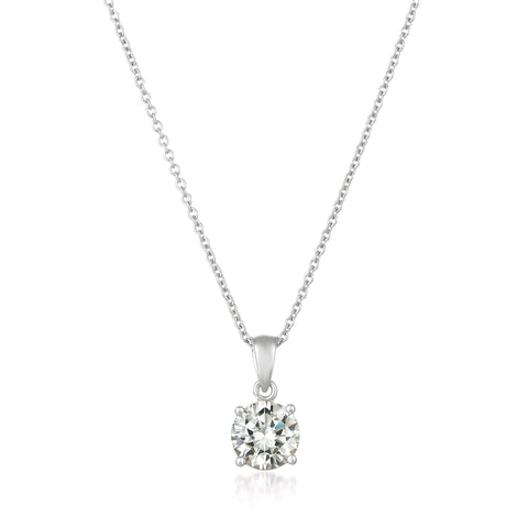 Royal Brilliant Cut Pendant Necklace Finished in Pure Platinum