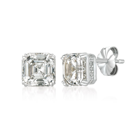 Royal Asscher Cut Stud Earrings Finished in Pure Platinum