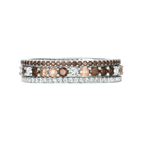 Chocolate and Champagne cubic zirconia Stunning Stacks Set