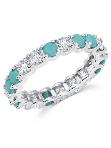 Turquoise  & Flawless Cubic Zirconia  Eternity Band In Pure Platinum