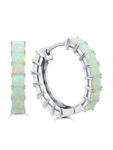 Pure platinum Duo Hoops - 22 mm with Opal and Clear Stones