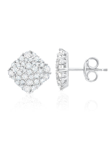 Pure platinum Cushion Cut Glisten cubic zirconia Stud Earrings