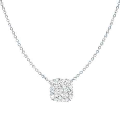 Pure platinum cubic zirconia Cushion Cut Glisten Necklace
