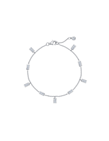 Baguette Anklet Finished in Pure Platinum
