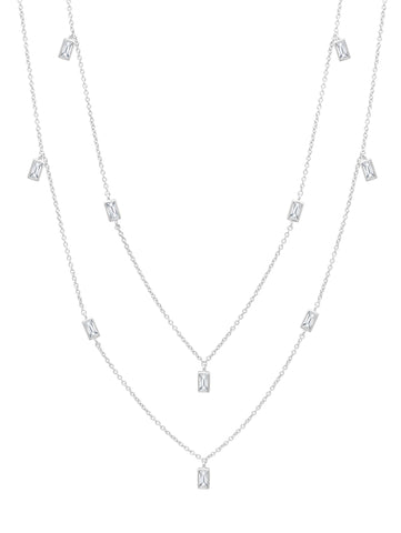 "Prism Baguette 36"" Necklace finished in Pure Platinum"