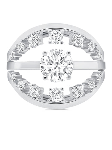 Fickle- Platinum Round Prong Ring Set