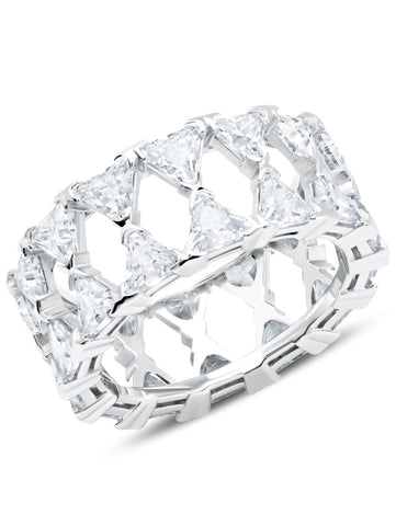 A Posh Trillion Cubic Zirconia Eternity Ring Finished in Pure Platinum from CRISLU.