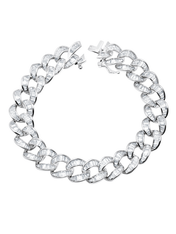 Ice'd Bold Chain Bracelet Finished in Pure Platinum