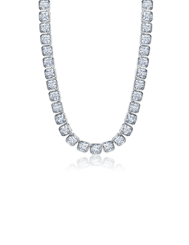 "Mens Asscher Cut 20"" Necklace Finished in Pure Platinum"