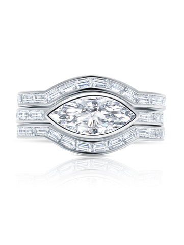 Fickle- Platinum Marquise Solitaire w/ Baguette Accent Band Ring Set