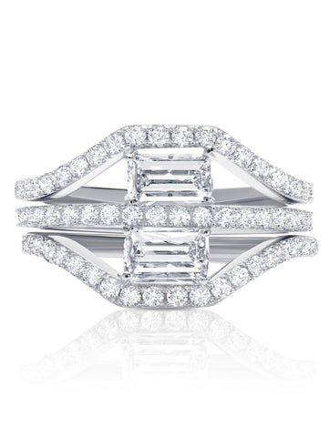 Fickle- Platinum Pave Band w/ Stacked Baguette Ring Set