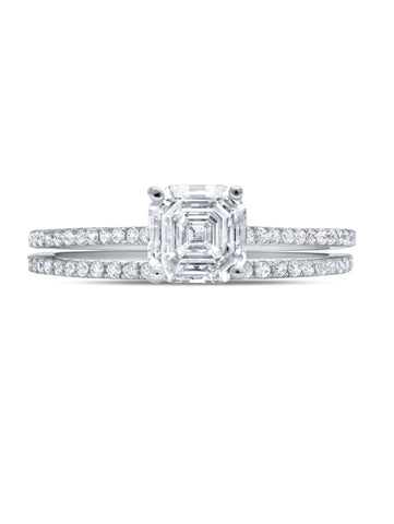 Devoted- Platinum Small Royal Asscher Cut w/ Band Ring Set