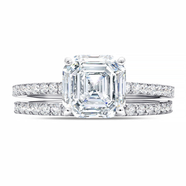 Large Asscher Solitaire and Pave Ring Set Finished in Pure Platinum