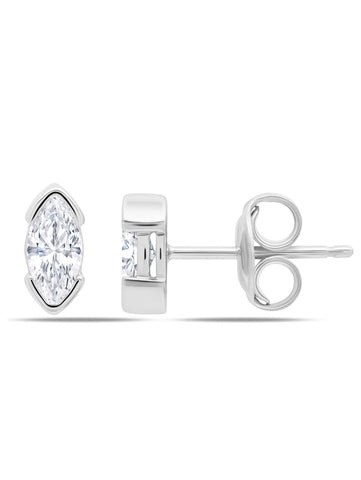A pair of Lavish Split Bezel CZ Studs Finished in Pure Platinum from CRISLU.