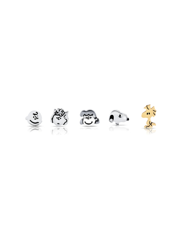 Snoopy & the Gang Stud Earrings Set in Pure Platinum
