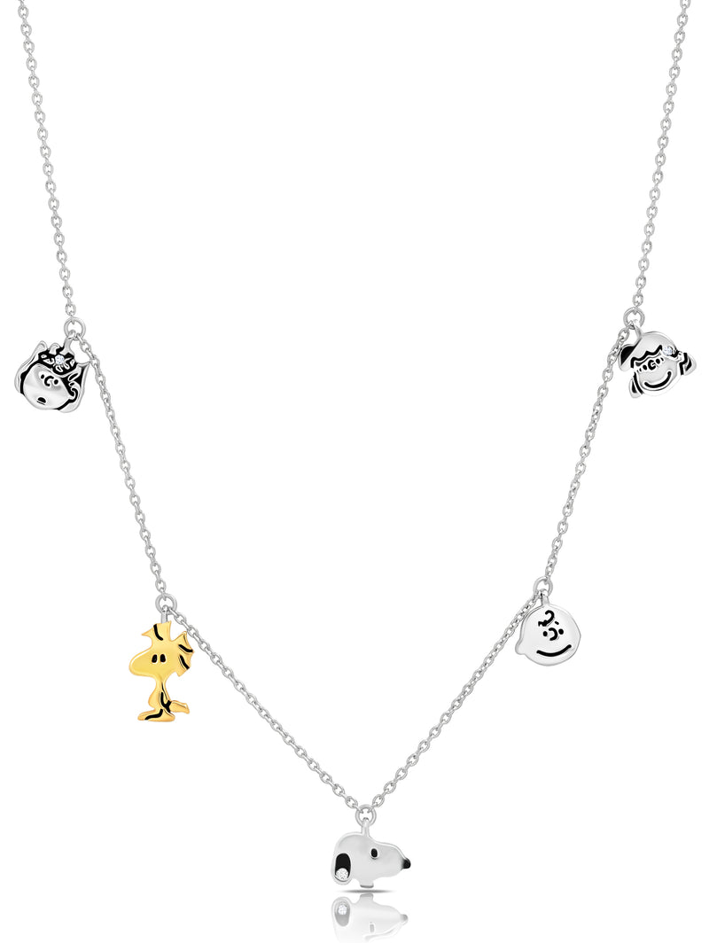 Snoopy & the Gang Charm Necklace in Pure Platinum