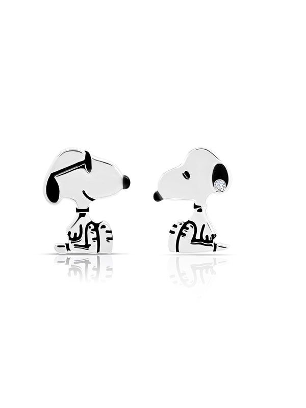 Snoopy Stud Earrings in Pure Platinum