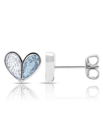 Crush- Platinum Heart Earrings w/ Aqua Pear Cut Stone