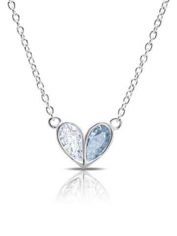 Crush- Platinum Small Heart Necklace w/ Aqua Pear Cut Stone