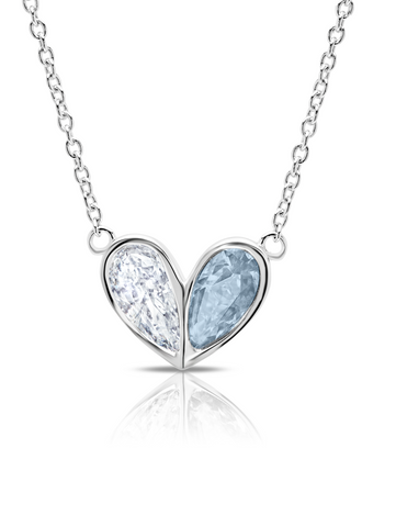 Crush- Platinum Heart Necklace w/ Aqua Pear Cut Stone