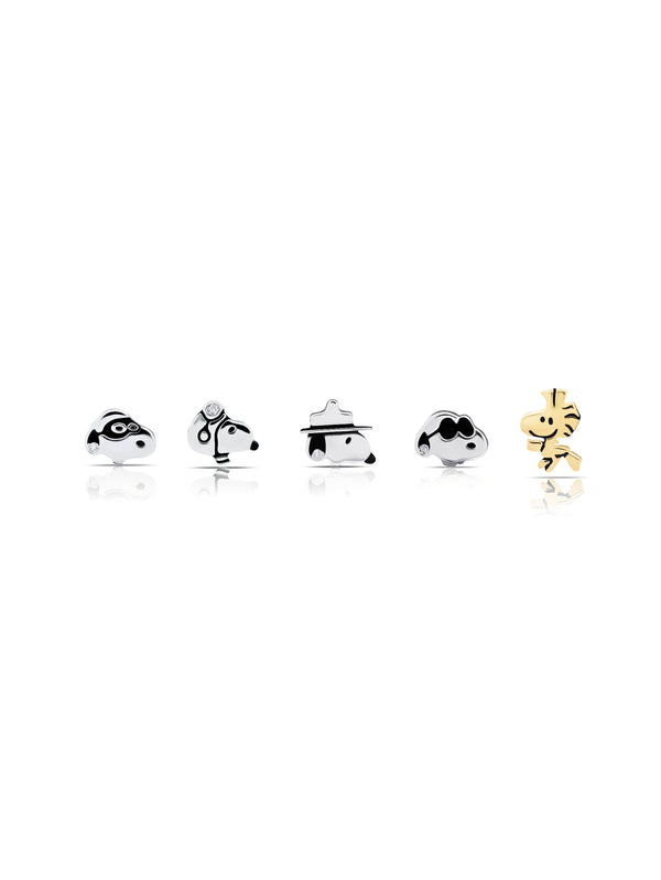 Snoopy & Woodstock Stud Earrings Set in Pure Platinum