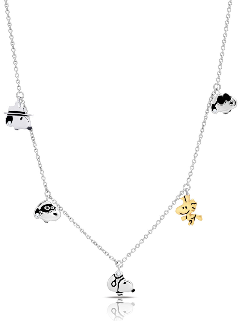 Snoopy & Woodstock Charm Necklace in Pure Platinum