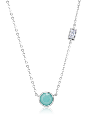 Small Turquoise Necklace accented with Flawless Baguette Cubic Zirconia In Pure Platinum