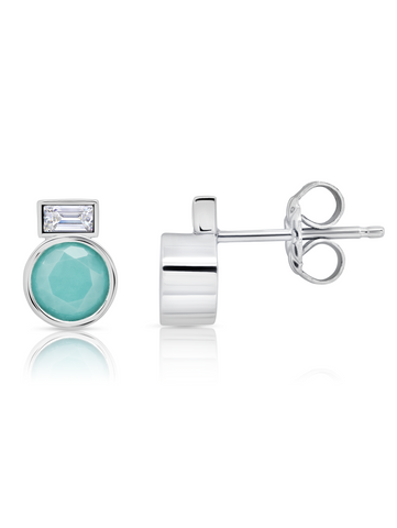 Turquoise  Stud Earrings and Baguette Stone In Pure Platinum
