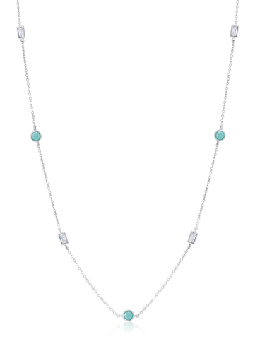 "Turquoise and Baguette  16""+2"" Multi  Station Necklace In Pure Platinum"