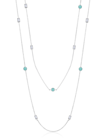"Turquoise and Baguette 36"" Multi Station Necklace In Pure Platinum"