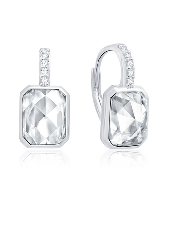 Classic Rosecut Hexagon Leverback Earring In Pure Platinum