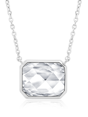 "Classic Rosecut Hexagon 16""+2"" Adjustable Necklace In Pure Platinum"