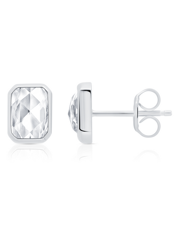 Classic Rosecut Hexagon stud earrings In Pure Platinum