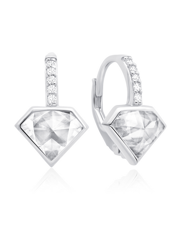Classic Rosecut Diamond shape Leverback Earring In Pure Platinum