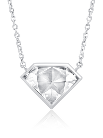 "Classic Rosecut Diamond shape  16""+2"" Adjustable Necklace In Pure Platinum"