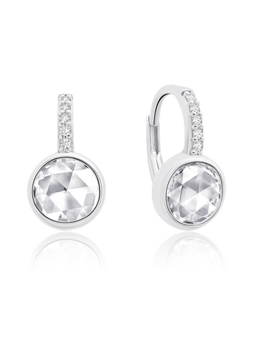 Classic Rosecut Brilliant  Leverback Earring  In Pure Platinum