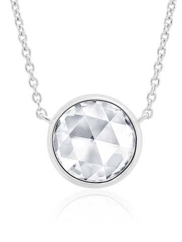 "Classic Rosecut Brilliant 16""+2"" Adjustable Necklace  In Pure Platinum"