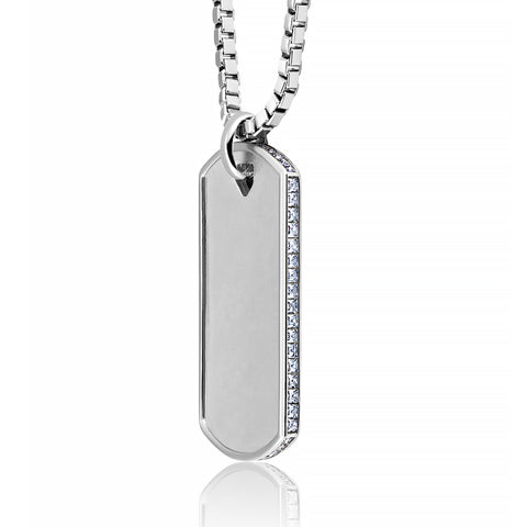 Mens Matte Box Chain Dog Tag Necklace with Baguettes Finished in Pure Platinum