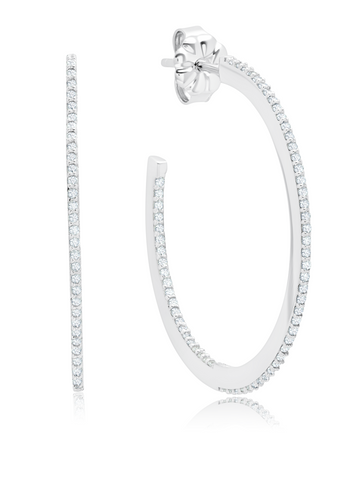 Thin Diamond Edge Pave Hoop Earrings In Pure Platinum
