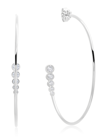 Graduated 3 stone  Bezel Set Hoop Earring In Pure Platinum