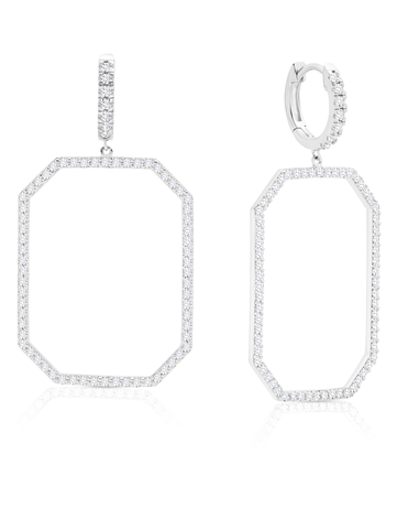 Open OctagonFront Facing Pave Hoop Earrings In Pure Platinum